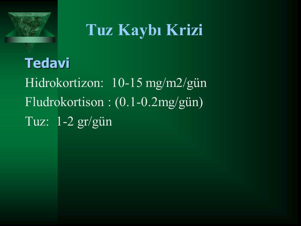 Tuz Kaybı Krizi Tedavi Hidrokortizon: 10-15 mg/m2/gün