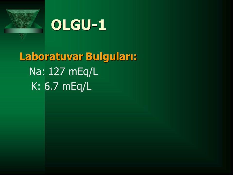 OLGU-1 Laboratuvar Bulguları: Na: 127 mEq/L K: 6.7 mEq/L