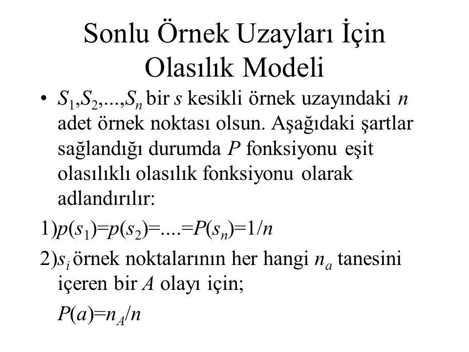 Sonlu Örnek Uzayları İçin Olasılık Modeli