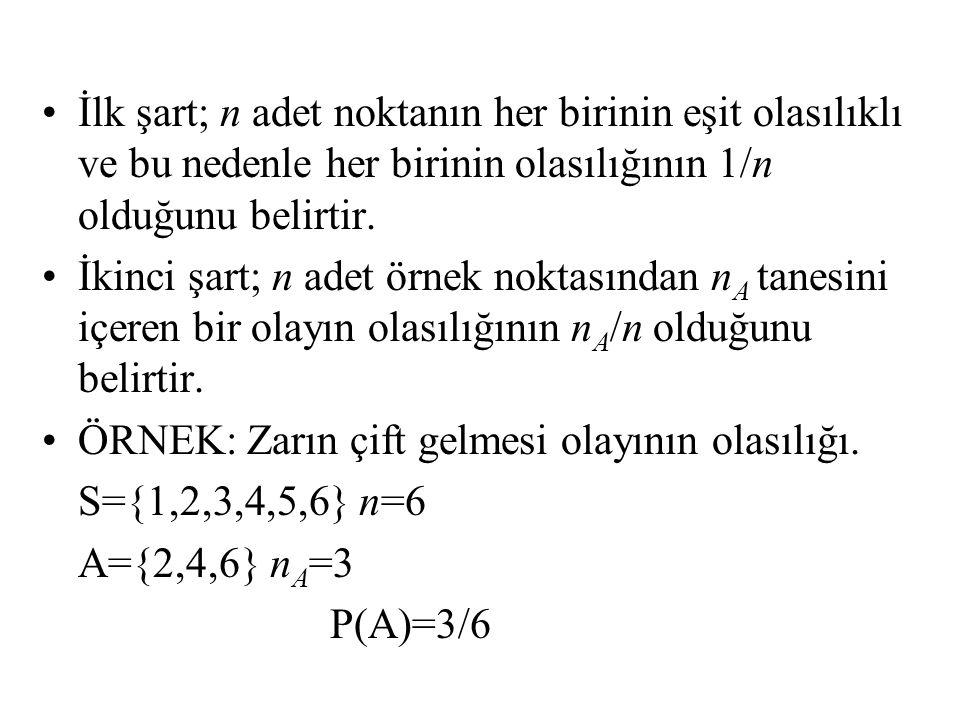 İlk şart; n adet noktanın her birinin eşit olasılıklı ve bu nedenle her birinin olasılığının 1/n olduğunu belirtir.