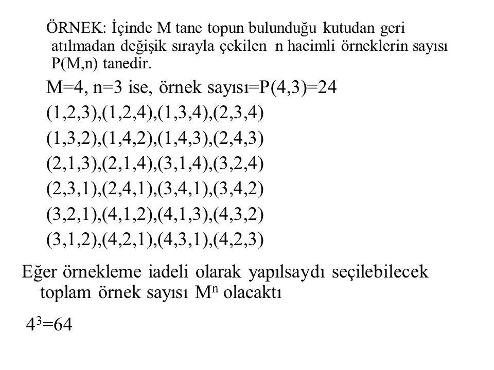 M=4, n=3 ise, örnek sayısı=P(4,3)=24 (1,2,3),(1,2,4),(1,3,4),(2,3,4)