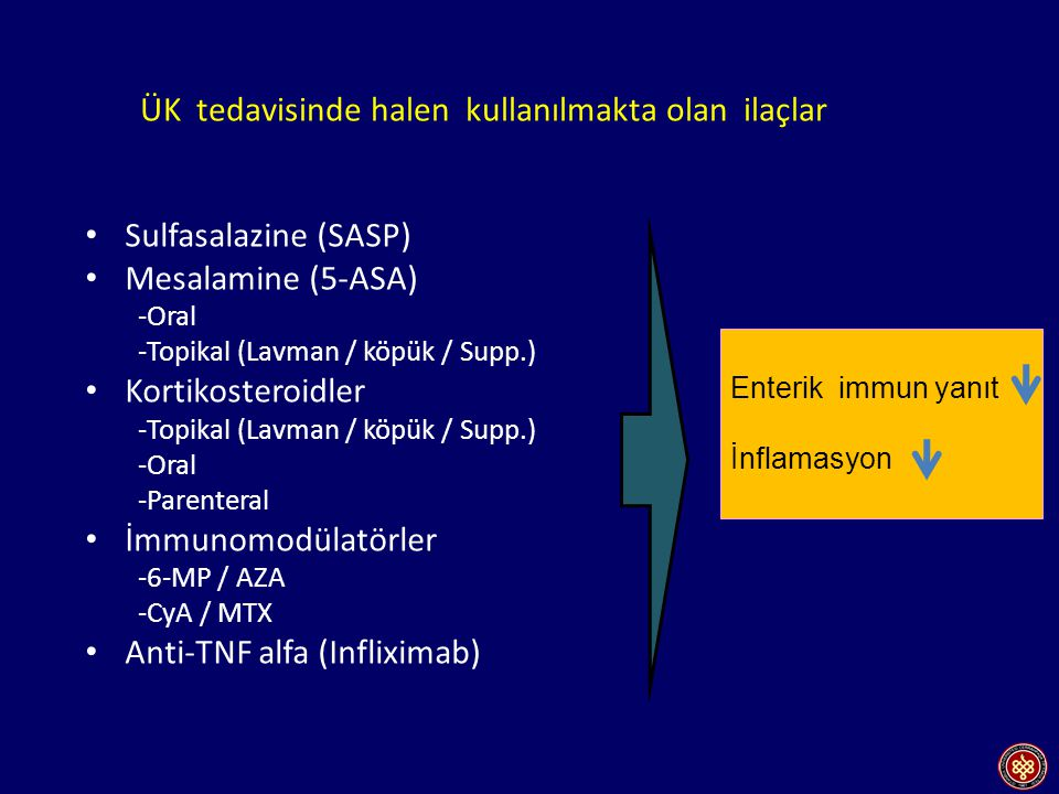 ÜK tedavisinde halen kullanılmakta olan ilaçlar