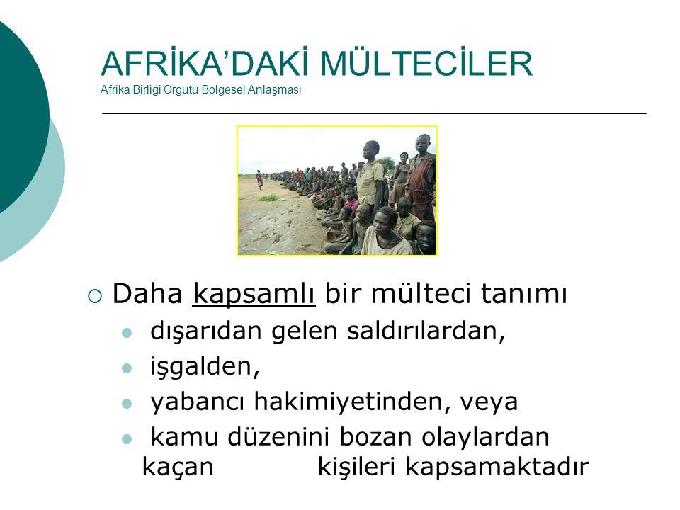 AFRİKA'DAKİ MÜLTECİLER Afrika Birliği Örgütü Bölgesel Anlaşması