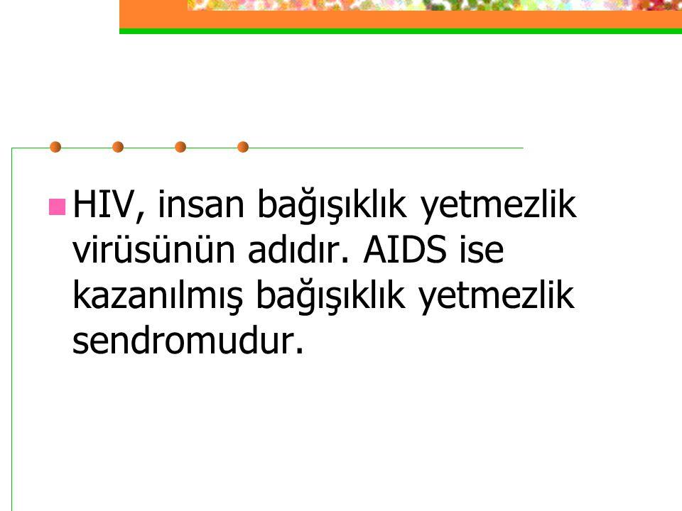 HIV, insan bağışıklık yetmezlik virüsünün adıdır