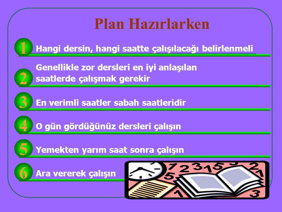 Plan Hazırlarken 1. Hangi dersin, hangi saatte çalışılacağı belirlenmeli. Genellikle zor dersleri en iyi anlaşılan.