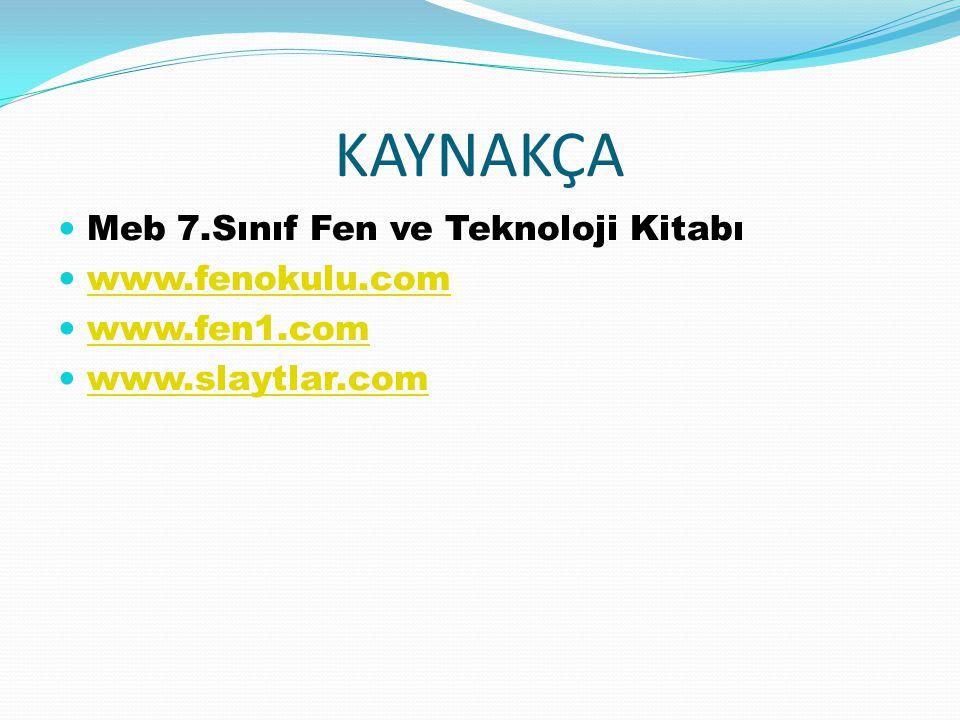 KAYNAKÇA Meb 7.Sınıf Fen ve Teknoloji Kitabı www.fenokulu.com