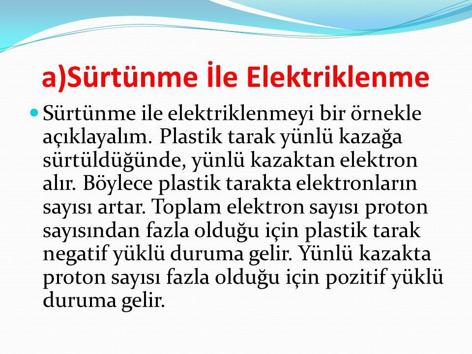 a)Sürtünme İle Elektriklenme