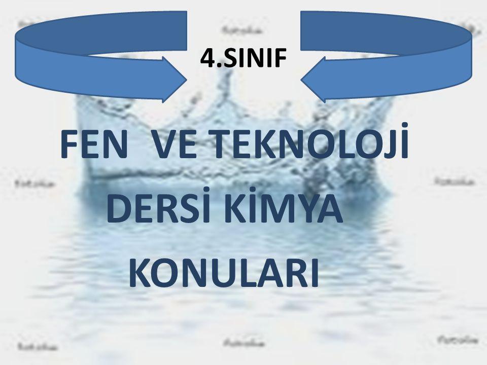 4.SINIF FEN VE TEKNOLOJİ DERSİ KİMYA KONULARI