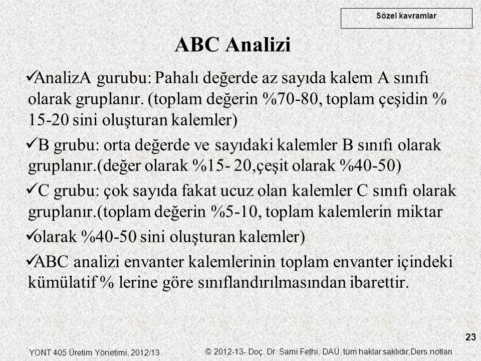 ABC Analizi