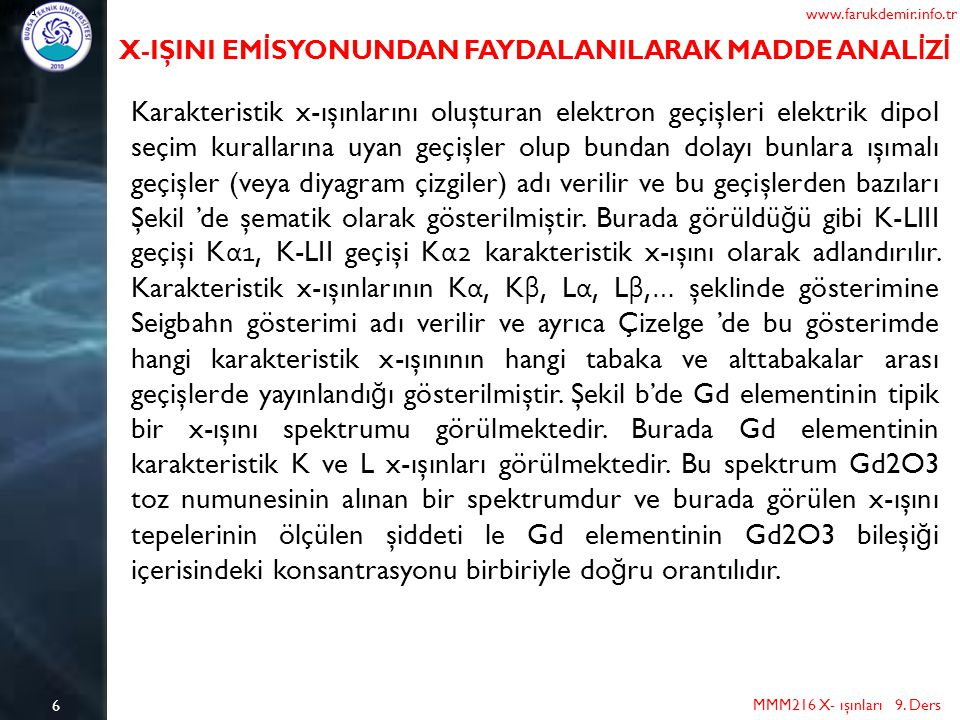 www.farukdemir.info.tr X-IŞINI EMİSYONUNDAN FAYDALANILARAK MADDE ANALİZİ.