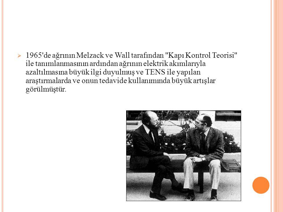 1965 de ağrının Melzack ve Wall tarafından Kapı Kontrol Teorisi ile tanımlanmasının ardından ağrının elektrik akımlarıyla azaltılmasına büyük ilgi duyulmuş ve TENS ile yapılan araştırmalarda ve onun tedavide kullanımında büyük artışlar görülmüştür.