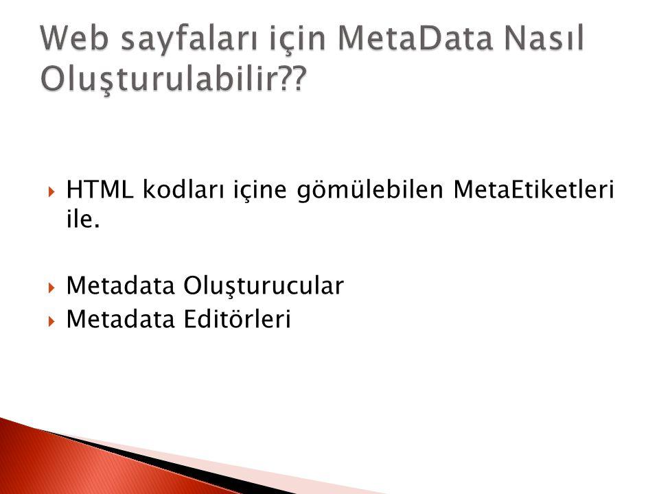 Web sayfaları için MetaData Nasıl Oluşturulabilir