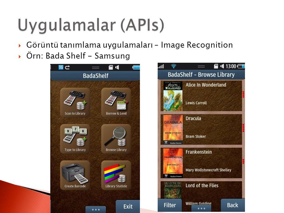 Uygulamalar (APIs) Görüntü tanımlama uygulamaları – Image Recognition