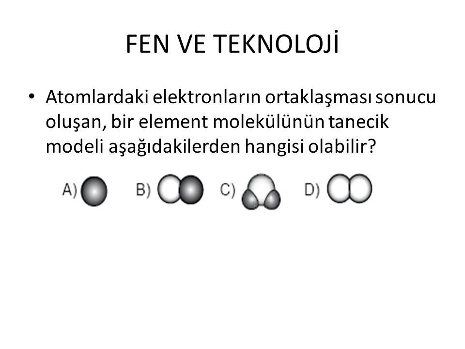 FEN VE TEKNOLOJİ Atomlardaki elektronların ortaklaşması sonucu oluşan, bir element molekülünün tanecik modeli aşağıdakilerden hangisi olabilir