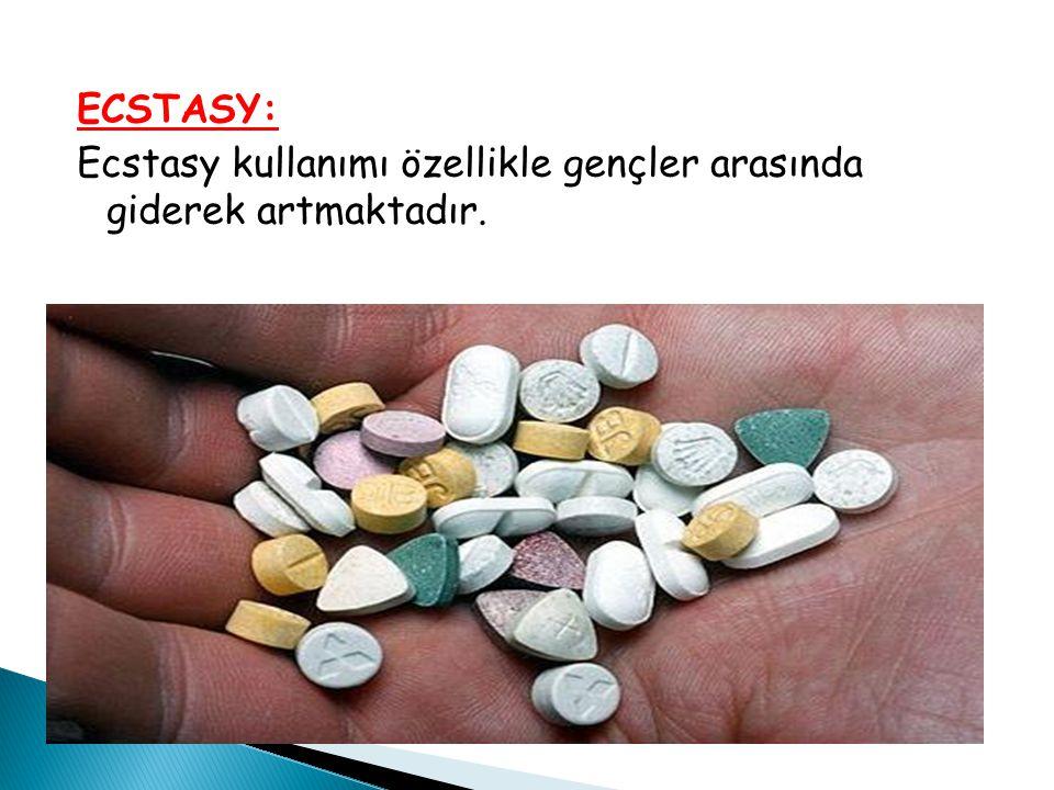 ECSTASY: Ecstasy kullanımı özellikle gençler arasında giderek artmaktadır.