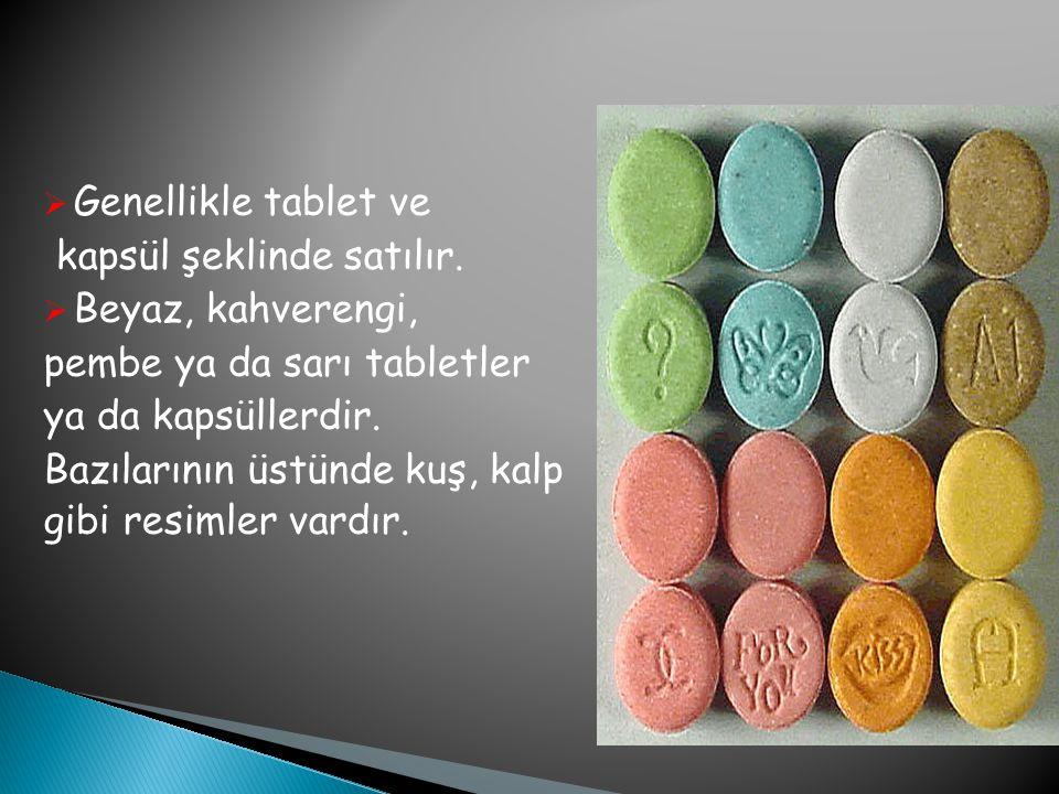 Genellikle tablet ve kapsül şeklinde satılır. Beyaz, kahverengi, pembe ya da sarı tabletler. ya da kapsüllerdir.