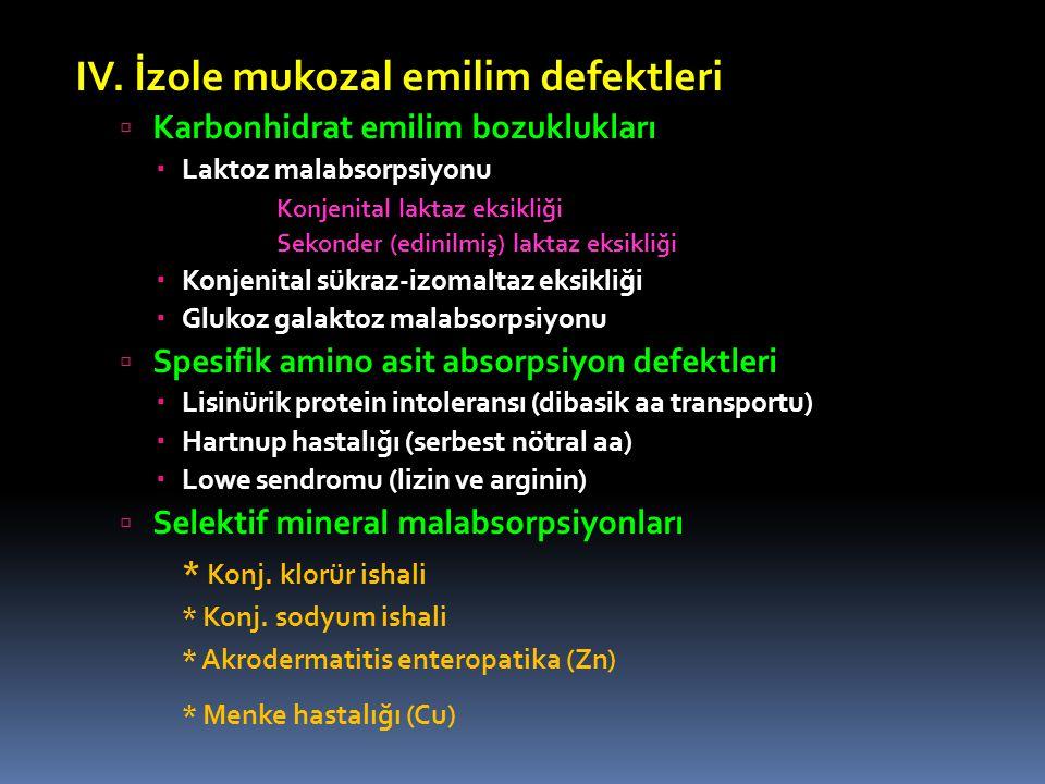 IV. İzole mukozal emilim defektleri