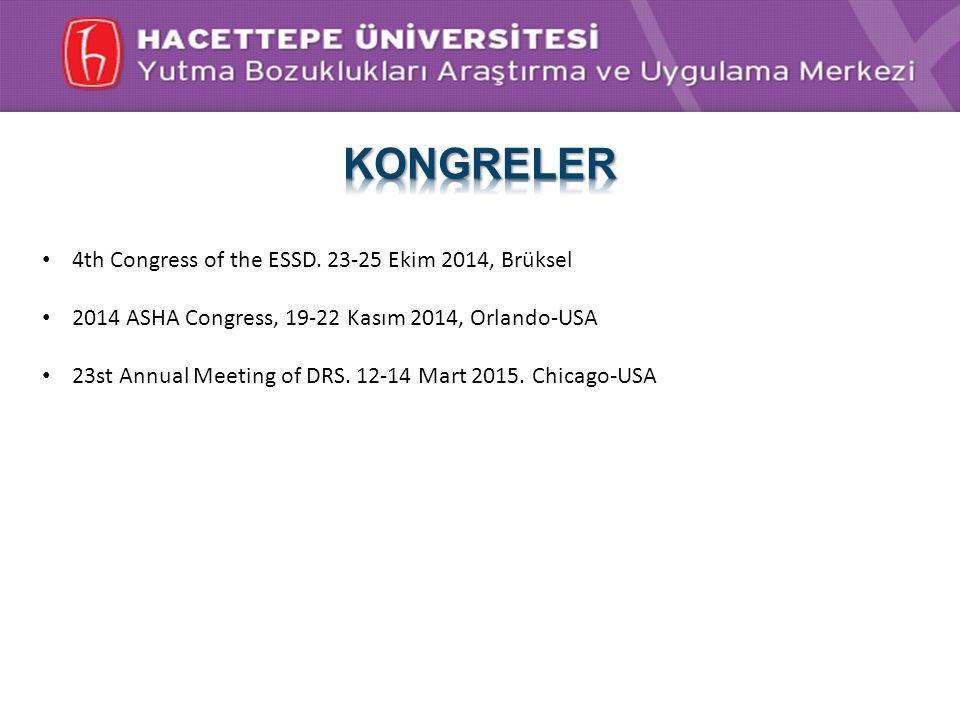 KONGRELER 4th Congress of the ESSD. 23-25 Ekim 2014, Brüksel