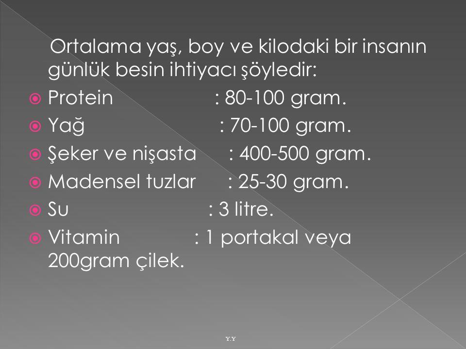 Şeker ve nişasta : 400-500 gram. Madensel tuzlar : 25-30 gram.