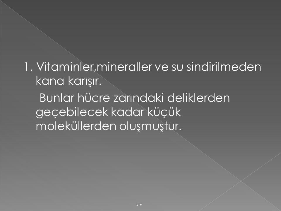 1. Vitaminler,mineraller ve su sindirilmeden kana karışır