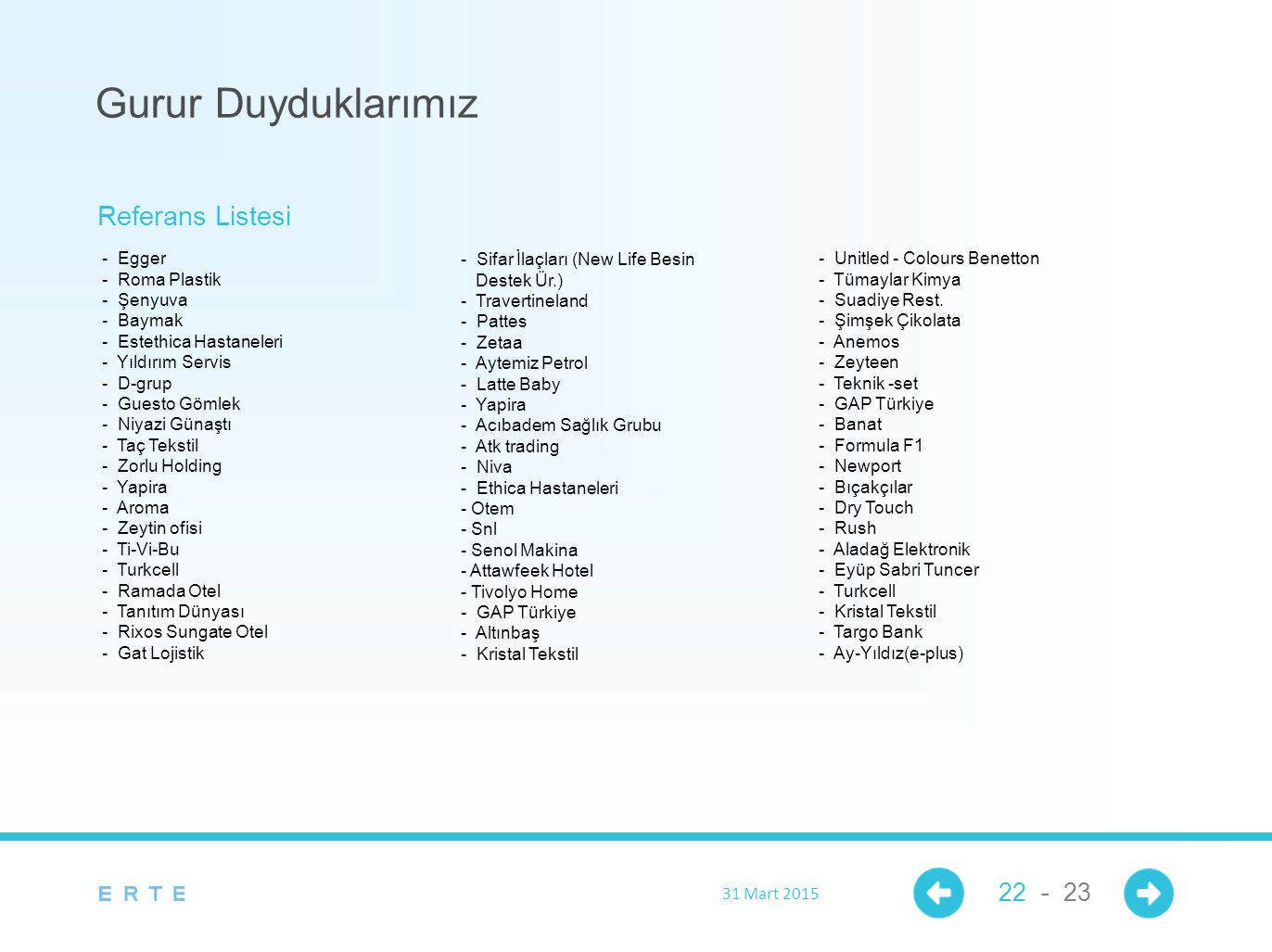 Gurur Duyduklarımız Referans Listesi 22 - 23 - Egger - Roma Plastik