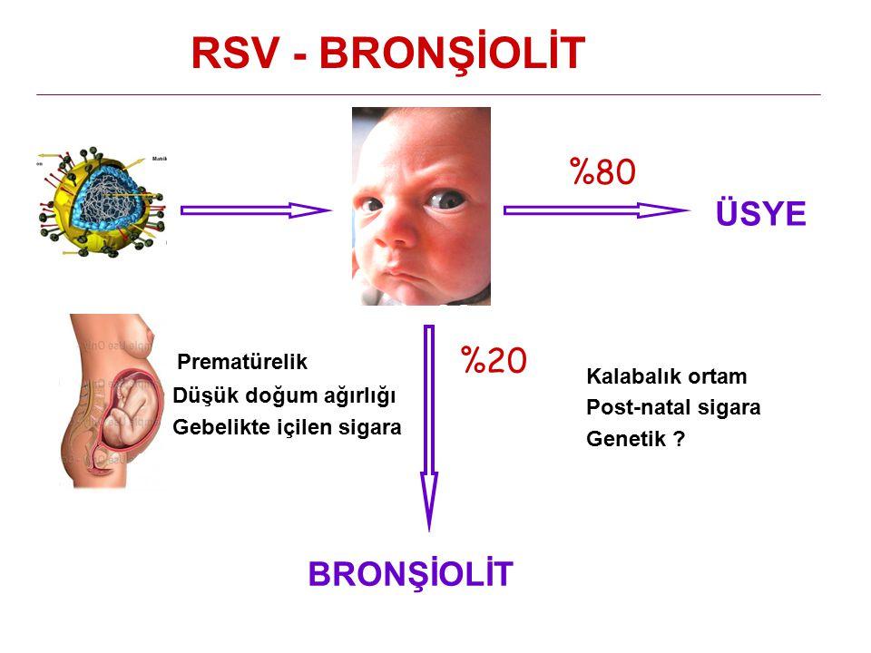 RSV - BRONŞİOLİT %80 %20 Prematürelik ÜSYE BRONŞİOLİT