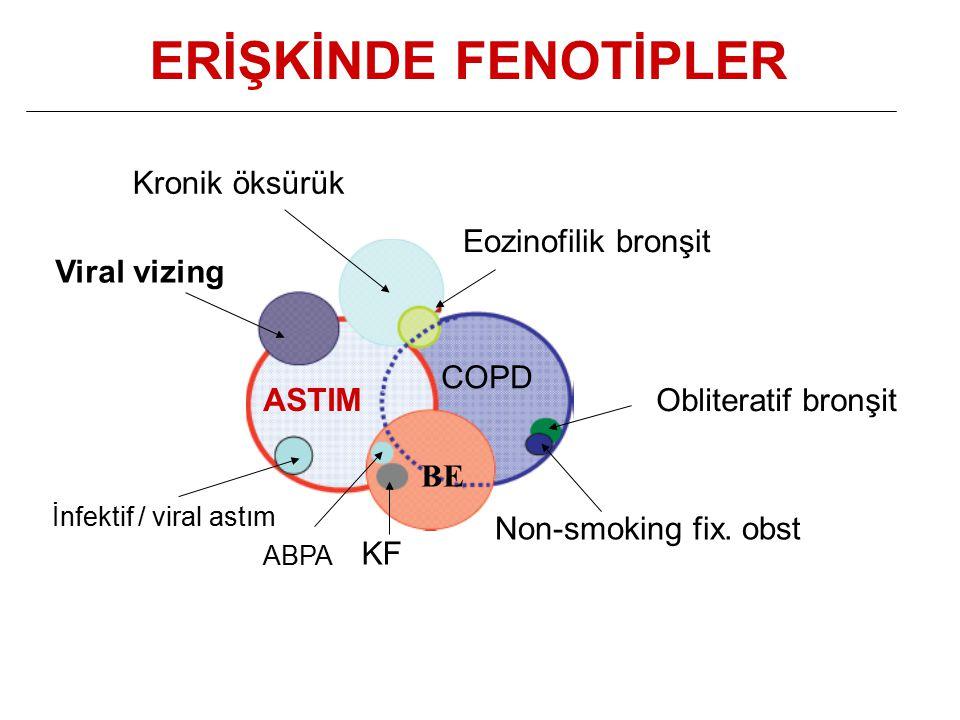 ERİŞKİNDE FENOTİPLER Kronik öksürük Eozinofilik bronşit Viral vizing