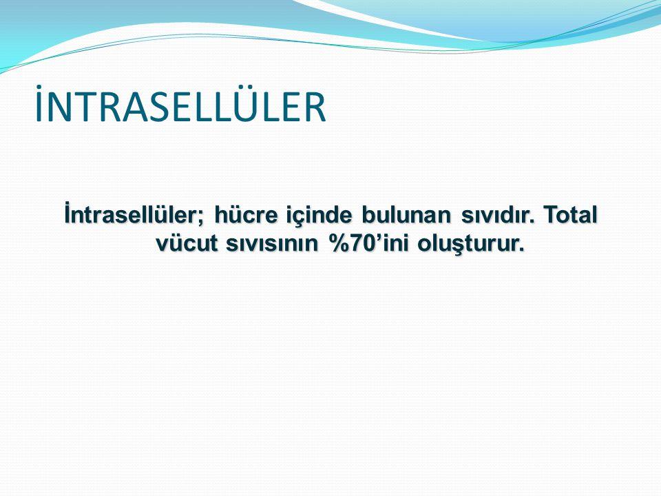 İNTRASELLÜLER İntrasellüler; hücre içinde bulunan sıvıdır. Total vücut sıvısının %70'ini oluşturur.