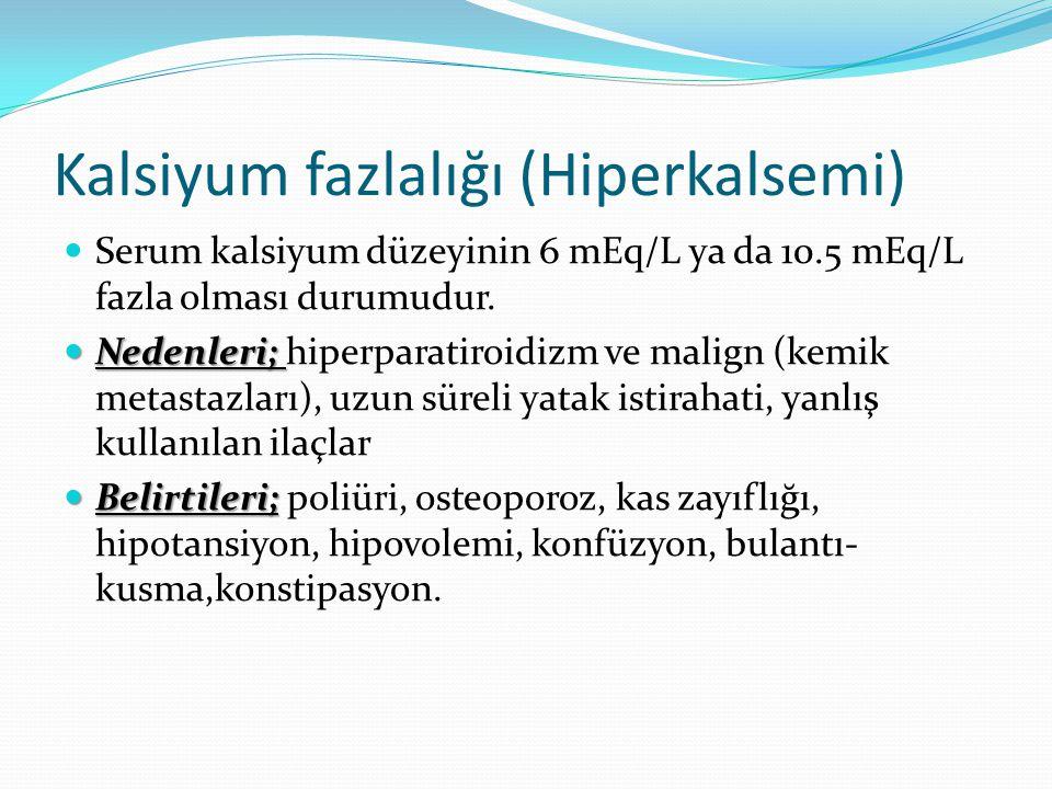 Kalsiyum fazlalığı (Hiperkalsemi)
