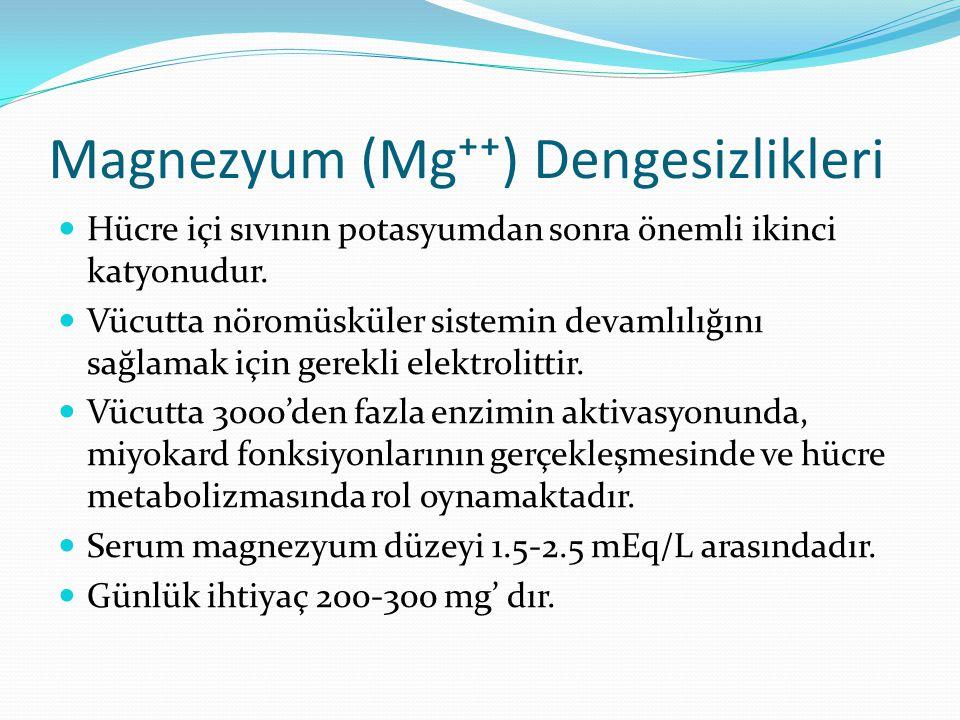 Magnezyum (Mg⁺⁺) Dengesizlikleri