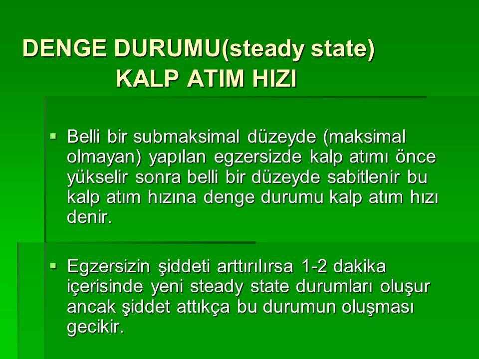 DENGE DURUMU(steady state) KALP ATIM HIZI