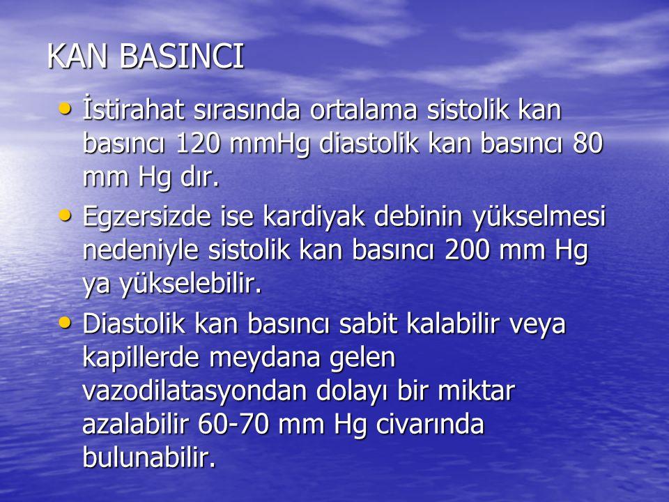 KAN BASINCI İstirahat sırasında ortalama sistolik kan basıncı 120 mmHg diastolik kan basıncı 80 mm Hg dır.