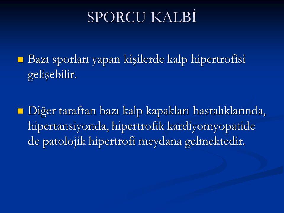 SPORCU KALBİ Bazı sporları yapan kişilerde kalp hipertrofisi gelişebilir.