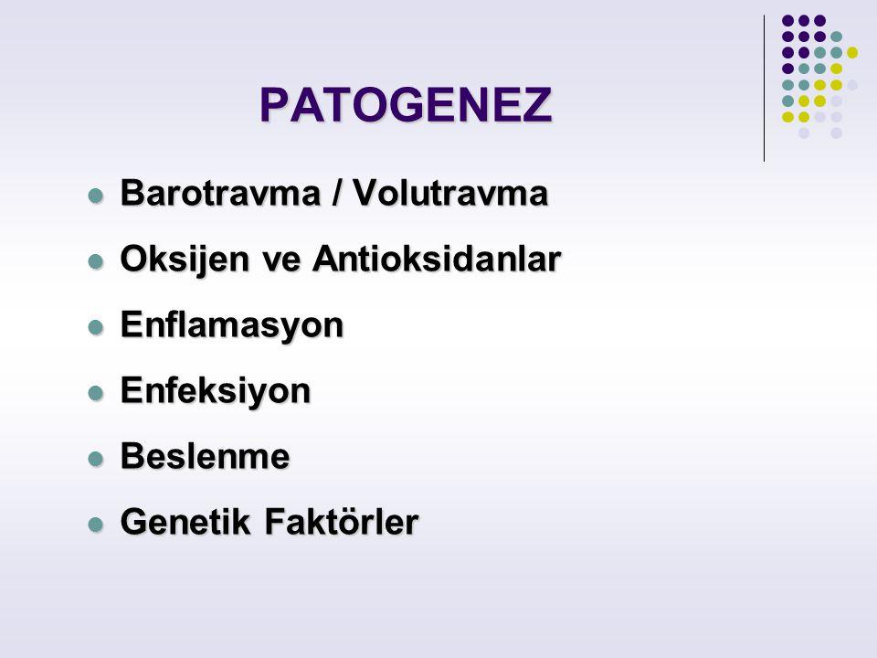 PATOGENEZ Barotravma / Volutravma Oksijen ve Antioksidanlar