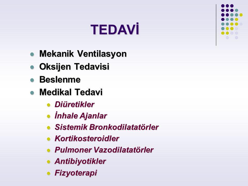 TEDAVİ Mekanik Ventilasyon Oksijen Tedavisi Beslenme Medikal Tedavi