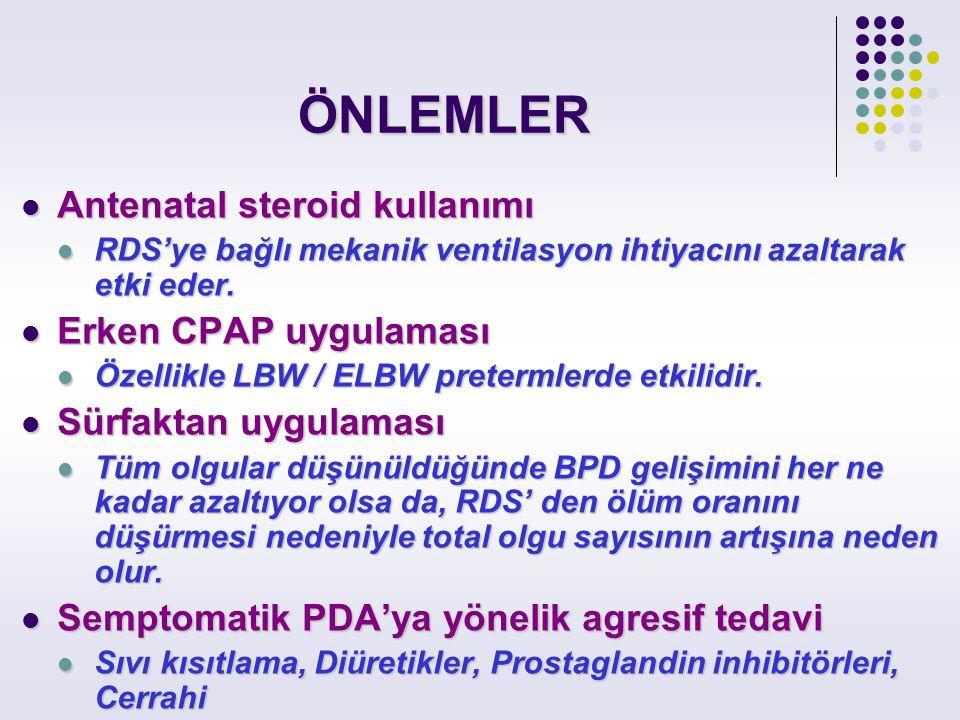 ÖNLEMLER Antenatal steroid kullanımı Erken CPAP uygulaması