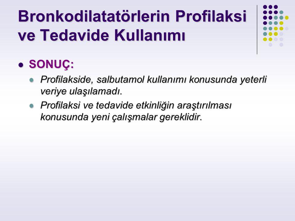 Bronkodilatatörlerin Profilaksi ve Tedavide Kullanımı