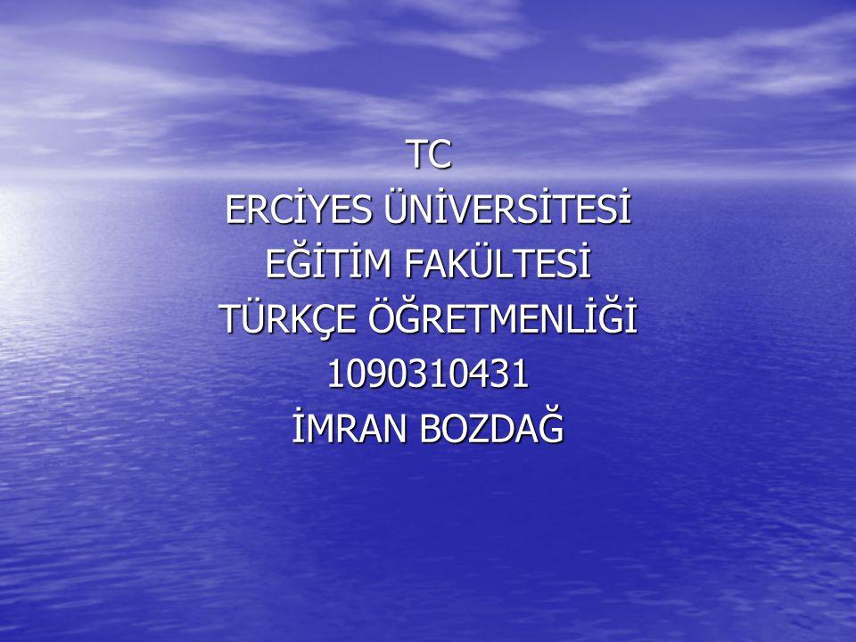 TC ERCİYES ÜNİVERSİTESİ EĞİTİM FAKÜLTESİ TÜRKÇE ÖĞRETMENLİĞİ 1090310431 İMRAN BOZDAĞ