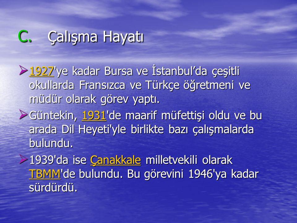 C. Çalışma Hayatı 1927 ye kadar Bursa ve İstanbul'da çeşitli okullarda Fransızca ve Türkçe öğretmeni ve müdür olarak görev yaptı.