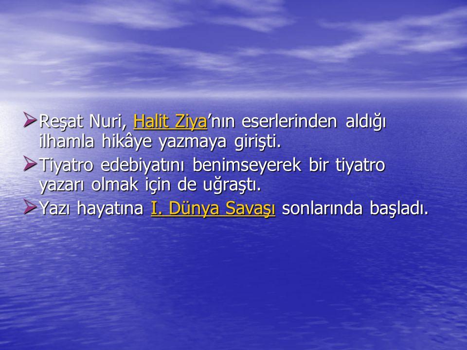 Reşat Nuri, Halit Ziya'nın eserlerinden aldığı ilhamla hikâye yazmaya girişti.
