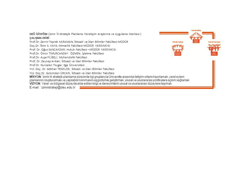 DEÜ İZİSYÖM (İzmir İli Stratejik Planlama Yönetişim Araştırma ve Uygulama Merkezi ) ÇALIŞMA EKİBİ: Prof.Dr.