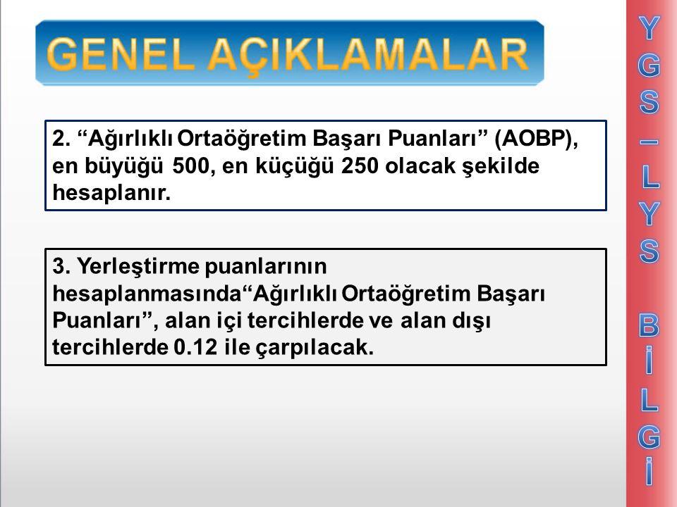 YGS – LYS Bİ. LGİ. 2. Ağırlıklı Ortaöğretim Başarı Puanları (AOBP), en büyüğü 500, en küçüğü 250 olacak şekilde hesaplanır.