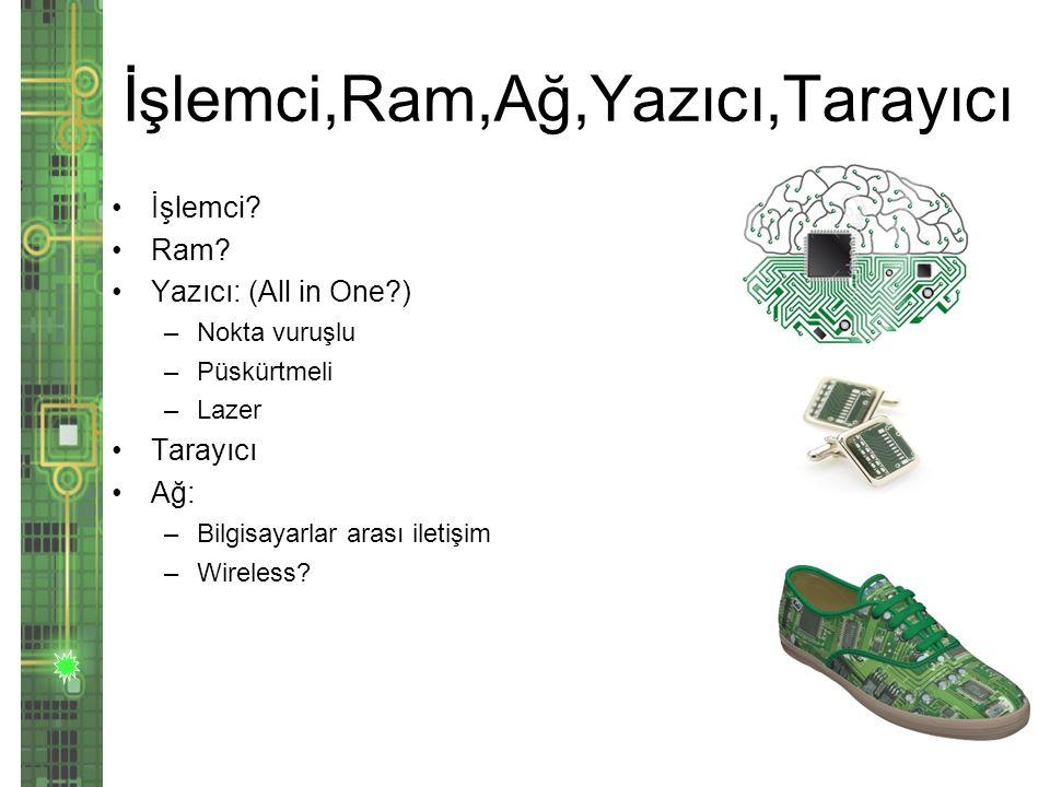 İşlemci,Ram,Ağ,Yazıcı,Tarayıcı