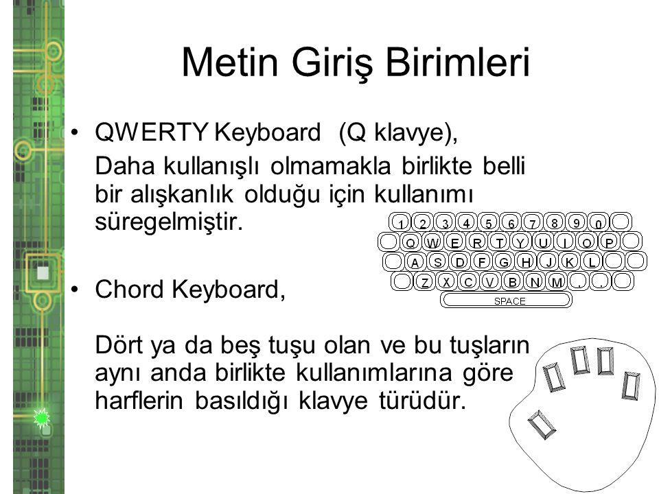 Metin Giriş Birimleri QWERTY Keyboard (Q klavye),