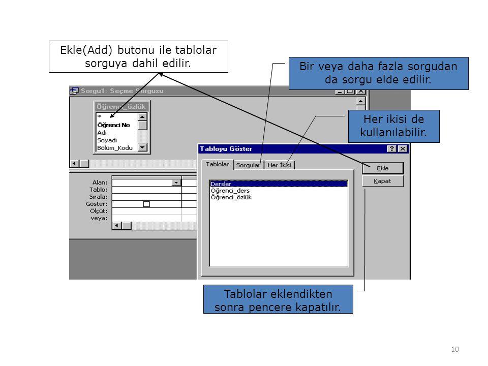 Ekle(Add) butonu ile tablolar sorguya dahil edilir.