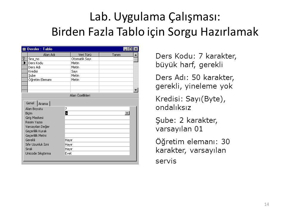 Lab. Uygulama Çalışması: Birden Fazla Tablo için Sorgu Hazırlamak