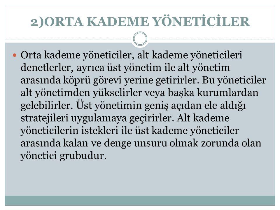 2)ORTA KADEME YÖNETİCİLER
