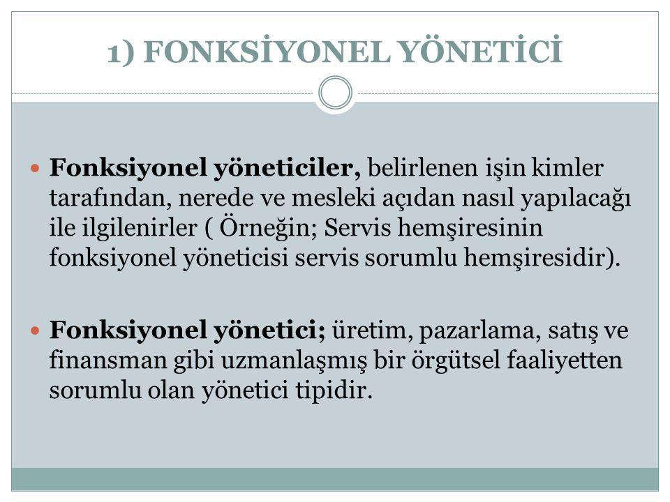 1) FONKSİYONEL YÖNETİCİ