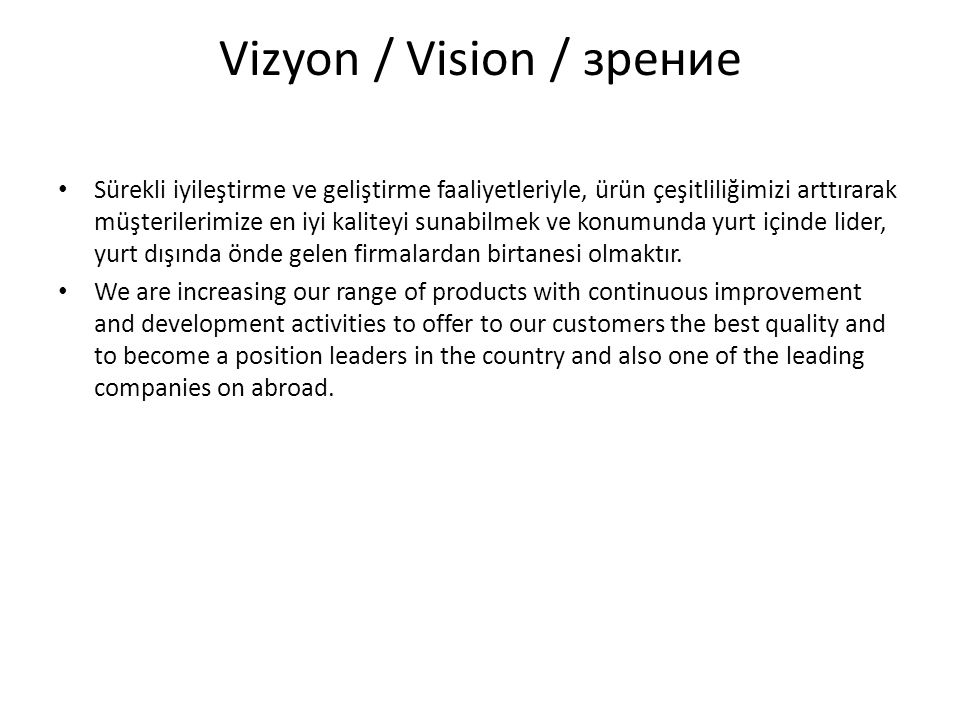 Vizyon / Vision / зрение