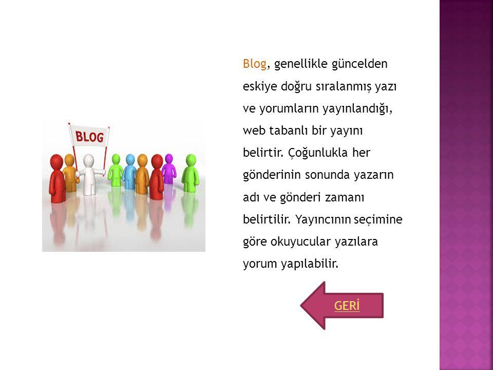 Blog, genellikle güncelden eskiye doğru sıralanmış yazı ve yorumların yayınlandığı, web tabanlı bir yayını belirtir. Çoğunlukla her gönderinin sonunda yazarın adı ve gönderi zamanı belirtilir. Yayıncının seçimine göre okuyucular yazılara yorum yapılabilir.